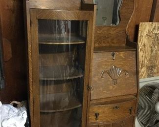 Antique secretary/display cabinet. Excellent with original key