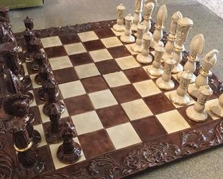 Another vintage chess set. This one is all ceramic with gold trim
