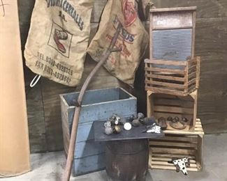 Burlap Feed Bags, Scythe, Hardware, and More
