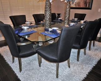 Greg Sheres limited edition polished stainless steel and 24k gold plated brass dining table with 8 chairs