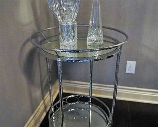 Rolling mirror and chrome drink cart