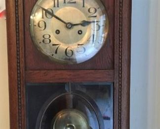 Antique key wind and set pendulum wall clock, works well