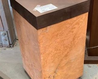 Coral Marble Pedestal With Iron Cap (very heavy)