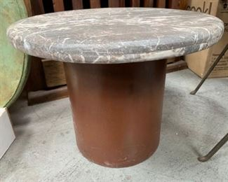 Marble Top Accent Table With Iron Base.