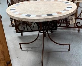 Travertine Top Tile Table On Iron Base