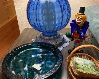 MCM Ash Tray, Blown glass clown, pair of blue glass globe lamps