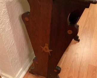inlaid wood Masonic emblem table