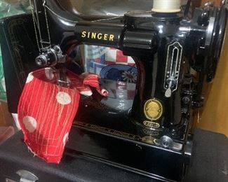 Vintage Singer 221 with Case & Manual