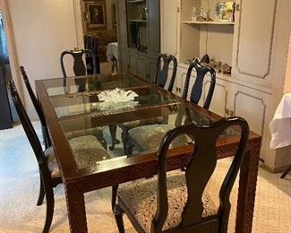 DINING TABLE WITH GLASS INSERTS/ SIX SIDE CHAIRS