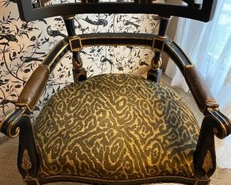 PR. CENTURY FURNITURE OVERSIZED CHAIR .  RUBBED BLACK LACQUER FINISH WITH  GILDED GOLD ACCENTS ARMCHAIR.