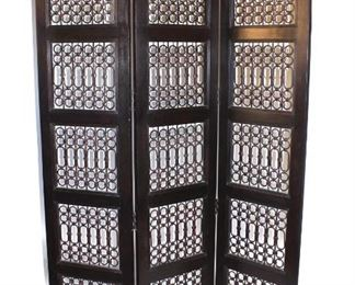 Contemporary Room Divider with Metal Fretwork
