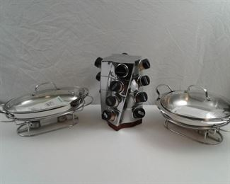 2 Cuisinart Chafing Dishes and a Nambe Spice Rack