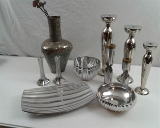 6 Dansk Collectible Pieces with Other Chrome and Copper Collectibles
