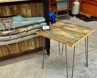 Whiskey Bar with 1939 Ford Grill and Hairpin Leg Table