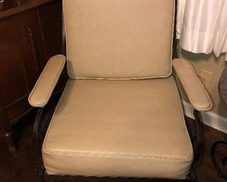 Beige Leather  Chair with Iron work part of 5 piece set