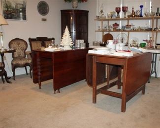 Beautiful mahogany gate leg, spindle leg drop-leaf table, and handmade cherry gate leg, drop-leaf table