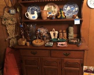 maple hutch and collectibles