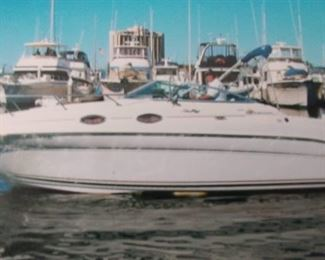 2000 Sea Ray Sundancer 260. Beautiful 26 ft cabin cruiser with a 5.7 L V8 mercury engine. Two cabin rooms, refrigerator and stove.  Boat is docked at Marina Village in Mission Bay. Rights to the slip are included.