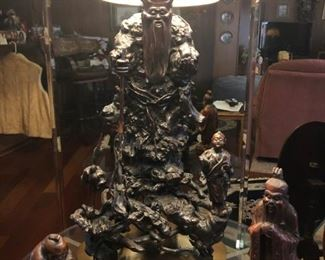 Large Carved Chinese Rosewood Figural Lamp
