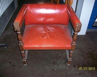 Vintage Hannibal Inc Orange vinyl carved wood made in Spain oversized armchair