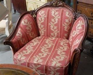 Victorian Cleopatra style solid wood animal paw front legs sofa & matching armchair