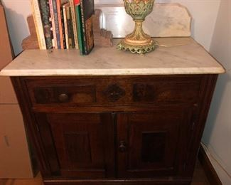 Antique mahogany marble top wash stand