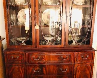 Vintage Jasper China cabinet, wood grain with bubble glass with drop front desk