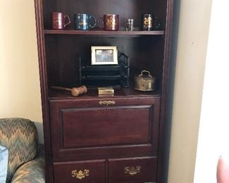 Book case with drop leave desk