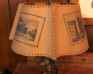 Portuguese  whale oil lamp  - parchment shade