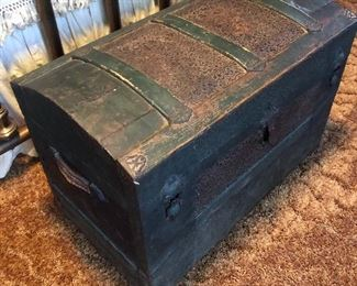 Early 1900 wood and Metal chest