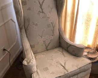 2 vintage tall wingback chairs