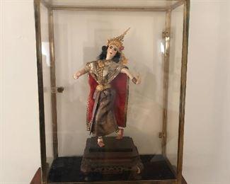 Antique Siamese doll, teak stand in shadow box