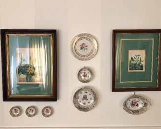 Dresend dishes, 2 vintage framed prints
