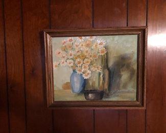 Hand painted framed art