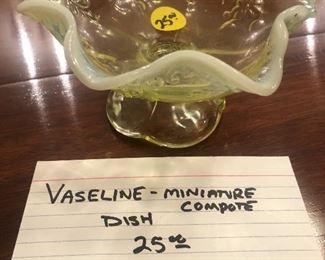 Vaseline glass miniature compote