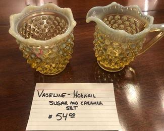 Vaseline Hobnail sugar & creamer