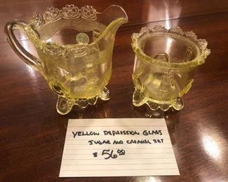 Antique yellow depression glass sugar & creamer