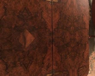 Antique Burl Walnut card table with  inlay top
