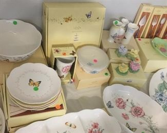 Lenox butterfly meadow dishes, coffee pot, sugar & creamer, salt & pepper sets. Lunch plates, vase, 3 part serving dish