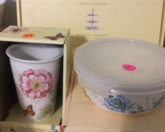 Lenox butterfly meadow dishes, coffee pot, sugar & creamer, salt & pepper sets.