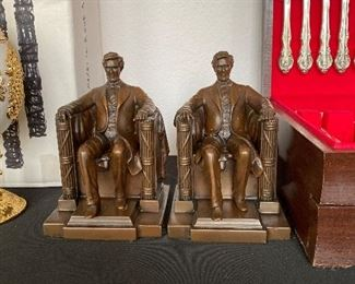 Antique Jennings Brothers JB #2440 Abraham Lincoln Bookends D.C French