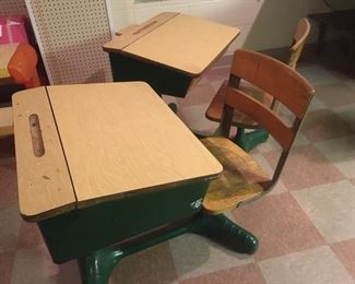 Two Vintage Classroom Seats-Cool!