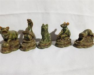 Lot of Green Jade animals,Pig, Snake, Rat, Tiger and Cat