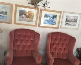 (2) Mauve Arm Chairs