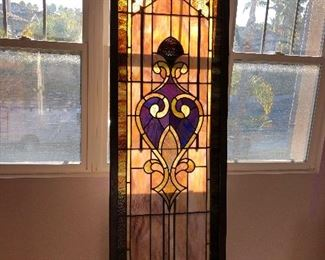"""Tiffany glass style 1880 cathedral stained glass window 7' x appx 30"""" w"""