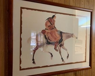 #4 Carol Grigg Water color painting of indian on horse back   $200.00