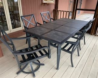 #5 tile top rectangle table with 5 swivel spring chairs 82x42x29  $ 225.00