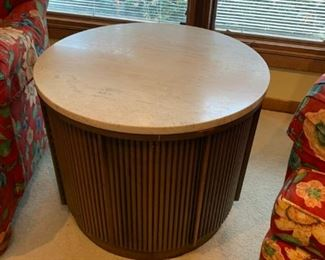 #10 round marble top end table w  2 doors 26x21  $ 100.00