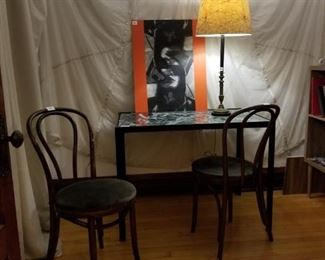 bentwood chairs, painting, marble table, parachute