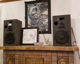 speakers, art, glassware